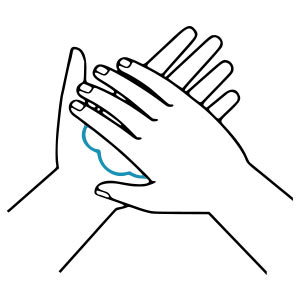 RUB HANDS TOGETHER COVERING ALL SURFACES OF HANDS INCLUDING BETWEEN YOUR FINGERS AND UP YOUR FINGERTIPS