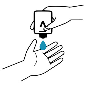 APPLY THE HYDROALCOHOLIC GEL ON THE PALM OF ONE HAND